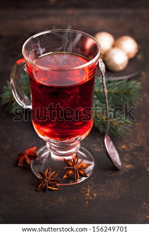 mulled wine with spoon and anise