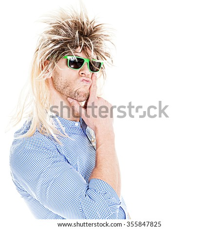Mullet Man with sunglasses isolated on white