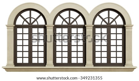 Mullioned window with stone frame and pilaster isolated on white - 3D Rendering - stock photo