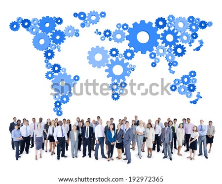 Mullti-ethnic group of business person with gear world map - stock photo