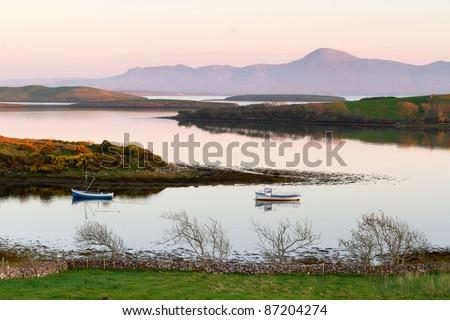 Mulranny bay at sunset, Co. Mayo, Ireland - stock photo