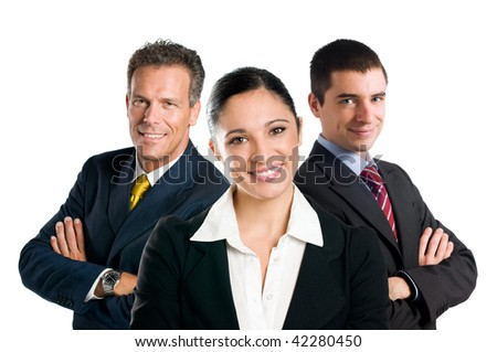 Multi aged happy business team with woman and men isolated on white background - stock photo