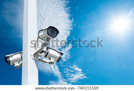 Multi-angle CCTV system On a sky background cipping path