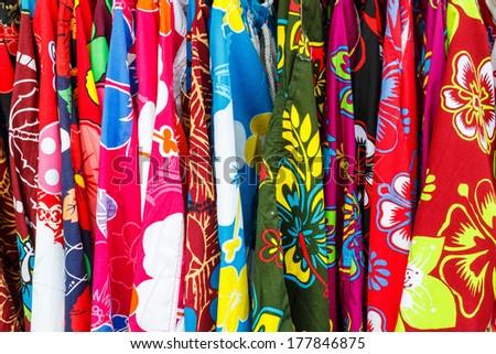 Multi color fabric - stock photo