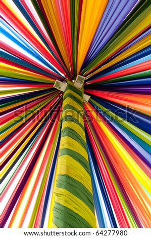 Multi color fabric in a row with shaft maintain - stock photo