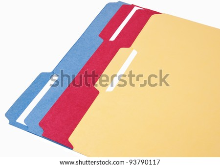 Multi color file folders for topic documents - stock photo
