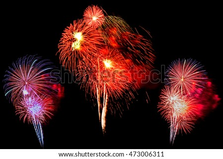 multi-color fireworks set -  beautiful colorful firework isolated display for celebration happy new year and merry christmas on black isolated background