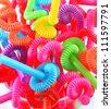 Multi Color flexible straws - stock photo
