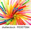Multi Color flexible straws - stock photo