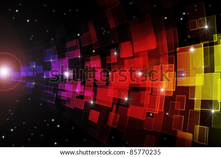 Multi color glass in dark space with stars and lens flares. - stock photo