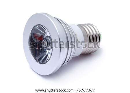 Multi color LED light bulb isolated on white background, LED Flashlight - stock photo