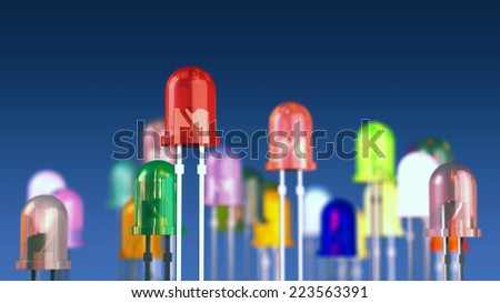 Multi-color light emitting diodes on blue background , LED diodes - stock photo