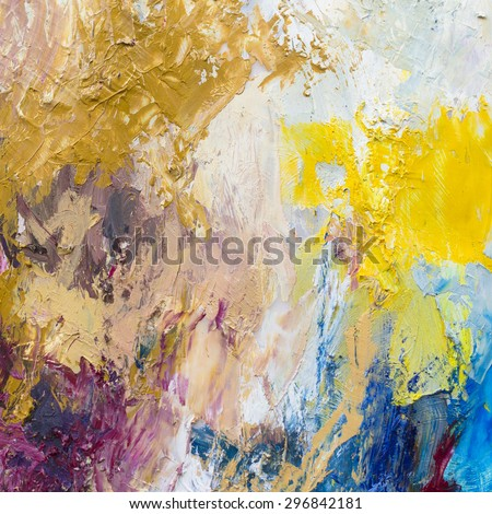 Multi  color oil painted brush strokes texture background, Copy space for text