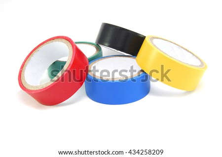 Multi-colored adhesive insulating tape on a white background close up