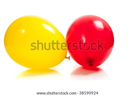 Multi-colored balloons on a white background - stock photo