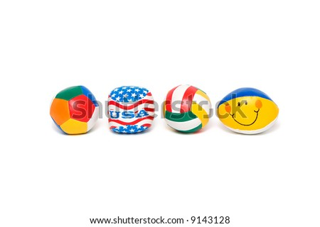 Multi-colored balls isolated on a white background. - stock photo