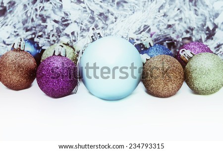 Multi-colored Christmas balls close-up
