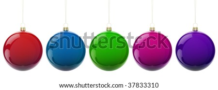 Multi-colored Christmas balls hanging on white. - stock photo