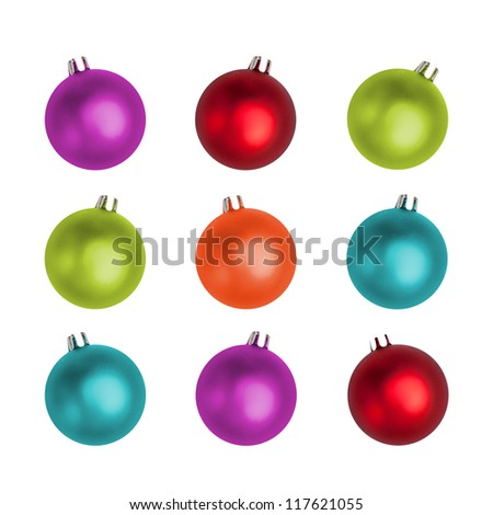 Multi-colored Christmas balls isolated on white. - stock photo