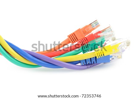 Multi colored computer network cables isolated on white background