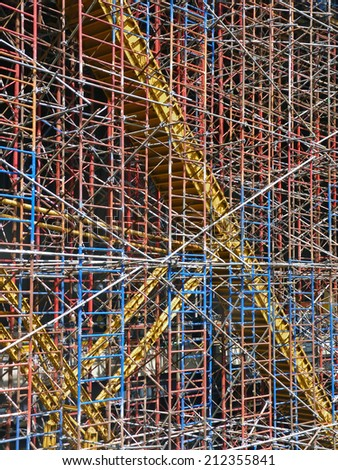 Multi-colored construction scaffolding.