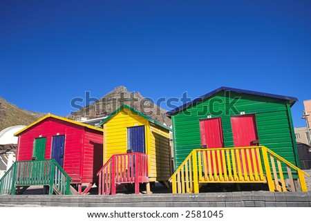 Multi-colored dressing rooms on the beach at Surfers Corner, Muizenberg, South Africa