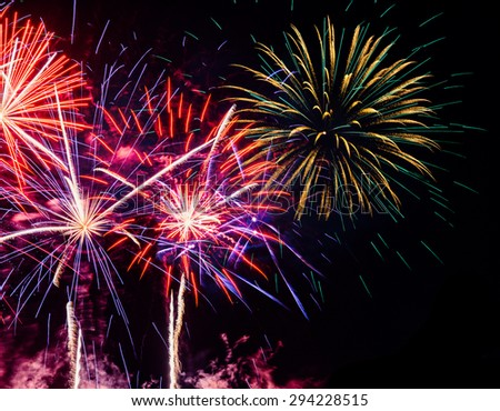 multi-colored fireworks display on dark  night sky, with copy space