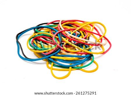 Multi-colored fixing elastic bands isolated on the white