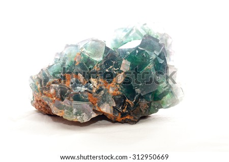 multi colored fluorite mineral crystal sample for science and geology - stock photo