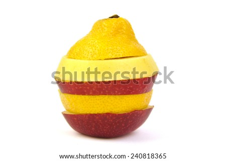 Multi colored fruit on white background