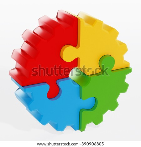 Multi colored gear consisting of puzzle parts isolated on white background