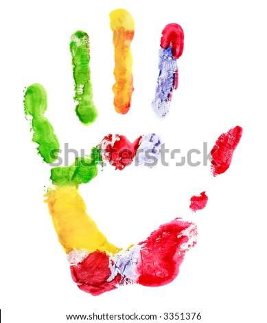 Multi-colored hand print - stock photo
