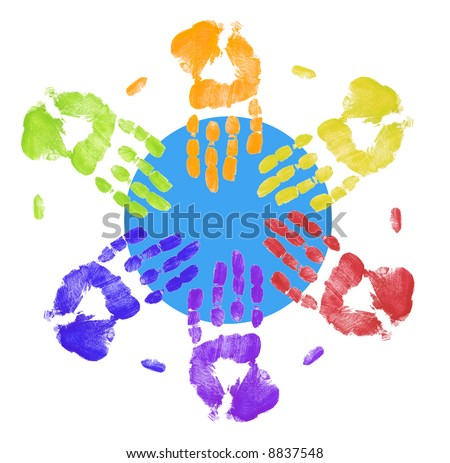 multi colored hands touching globe together - stock photo