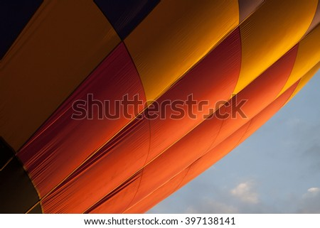 Multi colored hot air balloon view from outside - stock photo