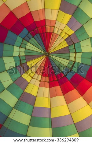 Multi-colored interior a hot air balloon giving abstract background wallpaper - stock photo