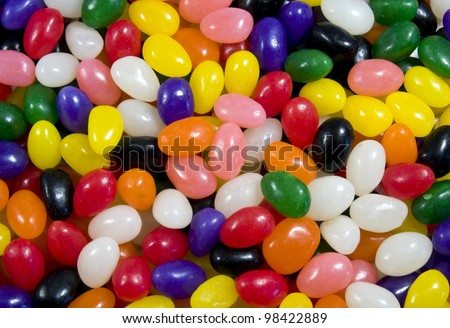multi colored jelly bean candy for an easter background