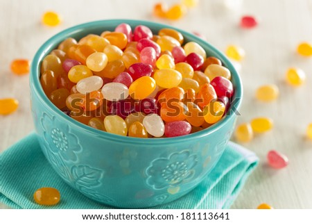 Multi Colored Jelly Bean Candy in a Bowl - stock photo