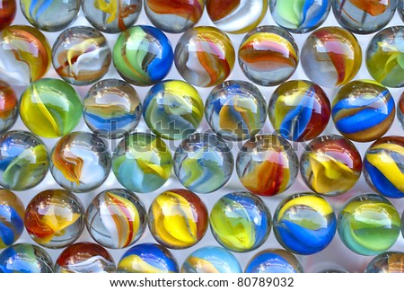 multi colored marbles, glass marbles - stock photo