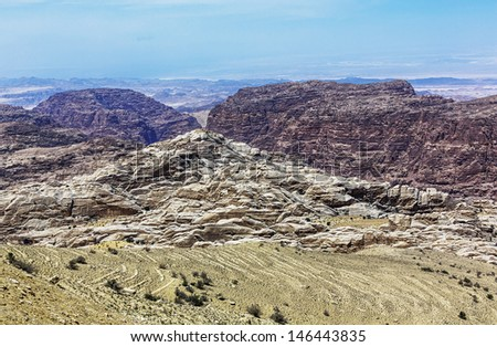 Multi-colored mountains near ancient city Petra - Jordan - stock photo