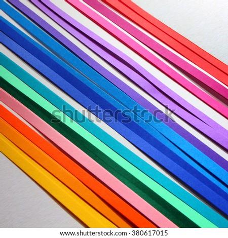 Multi-colored narrow stripes for decoration - stock photo