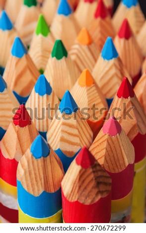 multi colored pencils (crayon) texture - stock photo