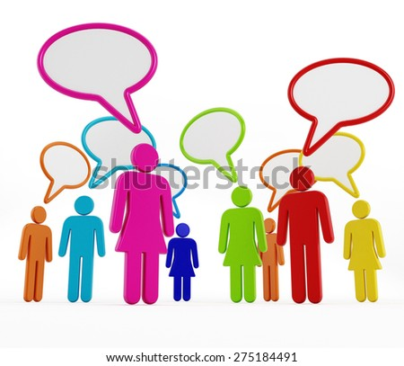 Multi-colored people with speech balloons isolated on white background - stock photo