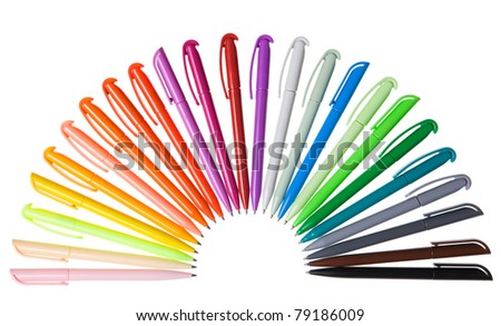 Multi-colored plastic pens. Isolated on a white background - stock photo