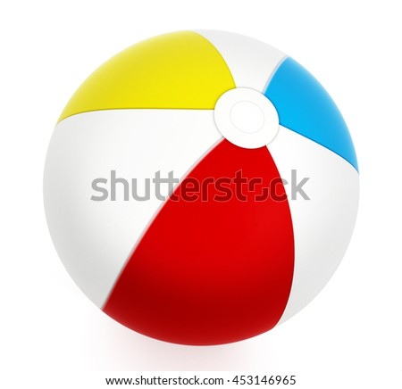 Multi colored sea ball isolated on white background. 3D illustration.