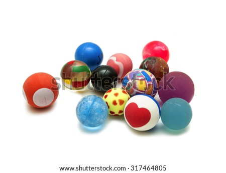 Multi-colored small balls on a white background - stock photo