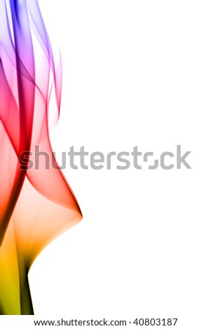 Multi colored smoke on isolated white bacground