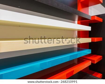 Multi-colored wooden shelves, samples - stock photo