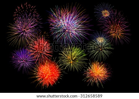 multi colorful firework beautiful isolated on black background