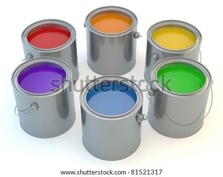 Multi colour paintcans on isolated white background - stock photo