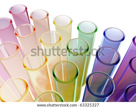 Multi colour test tubes - stock photo